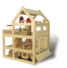 Giant, realistic, four-story dollhouse, featuring two extra large rooms, garage, attic, and terrace. Garage and entrance doors open and close. Completely accessible from all sides providing play opportunities for several children at once. Furniture and Family Van sold separately.