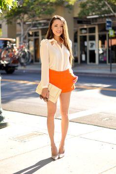 Styling How-To: Orange High-Waist Shorts - Hapa Time