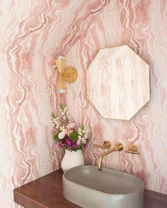 Design Nuggets: Wallpaper on Ceilings and Angles Sarah Sherman-Samuel Design pink marble bathroom Powder Room Wallpaper, Bathroom Wallpaper, Wallpaper Ceiling, Of Wallpaper, Sarah Sherman Samuel, Powder Room Design, Striped Wallpaper, Pink Marble, Ceiling Decor