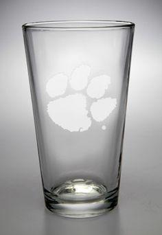 Clemson Tigers 16 oz Deep Etched Pub Pint Glass
