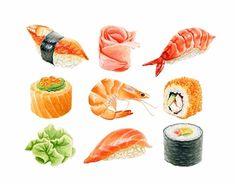 sushi watercolor - Google 搜索