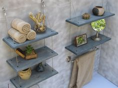 bathroom shelves floating shelves industrial by designershelving, $169.00