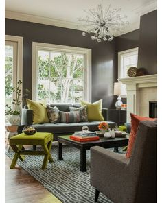 love the chartreuse and greys
