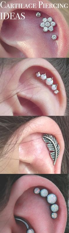 Pretty Ear Piercing Idea for Cartilage Earring - Crystal Flower Stud - Leaf Helix Jewelry - 5 Opal Jewellery 16G Silver #bodyjewellerypiercing