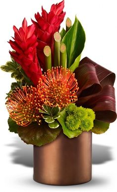 Pin cusion Protea, red Ginger, Bamboo