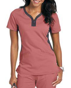 Healing Hands Purple Label Jessi Y-neck Contrast Knit Side Panels Scrub Tops Scrubs Outfit, Scrubs Uniform, Scrub Suit Design, Maternity Scrubs, Scrubs Pattern, Stylish Scrubs, Womens Scrubs, Nursing Clothes, Medical Scrubs