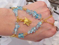 Gold Turtle Slave Bracelet Ring Aqua by TheMysticalOasisGlow, $25.00