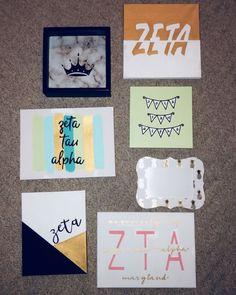 big little canvas zeta canvas ideas, sorority, big little Big Little Week, Big Little Gifts, Little Presents, Big Sister Gifts, Theta Crafts, Sorority Crafts, Sorority Paddles, Sorority Recruitment, Sorority Life