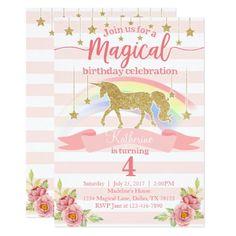 Magical Rainbow Unicorn Birthday Party Invitation 1st birthday