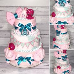 This beautiful Girl's Pink Bath Time Nappy Cake includes: Huggies Newborn Nappies Flannelette Wraps Baby Blanket Gentle Face Washers Avent Soother Bath Toys Johnsons Baby Bath