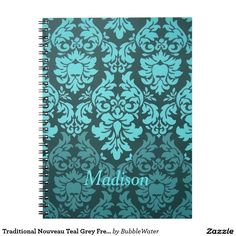Traditional Nouveau Teal Grey French Damask Spiral Note Book