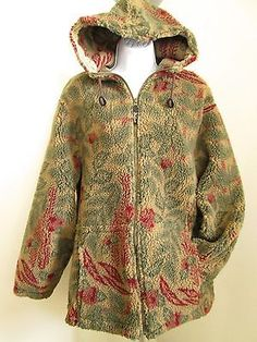 Woolrich Hooded Heavy Fleece Zip Up Jacket Large L USA Made Drawstring