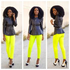 http://stylepantry.com/2014/01/13/leather-jacket-peplum-blouse-neon-jeans/