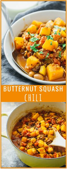 Butternut squash chili - This butternut squash chili is one of my favorite chili recipes! It's easy and fast (cooks in 30 minutes on the stove), and it's a great way to incorporate fall favorites like butternut squash into your diet. This vegetarian / vegan dish is also healthy and includes quinoa, black and pinto beans, and peppers. - savorytooth.com