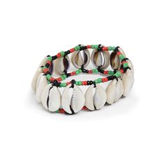 Afro Beads & Cowrie Shell Bracelet