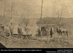 Dan, James, Ruel, and Will Mays making sorghum. Searcy County, Arkansas courtsay of Ozark Memories