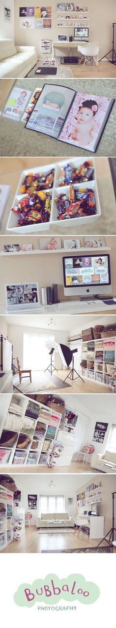 Love how it's all-in-one; office area, shooting space, storage, and gallery.