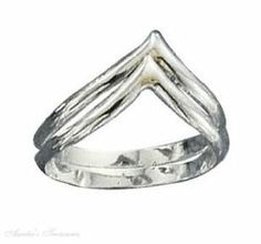 Sterling Silver Silver Double Chevron Ring Auntie's Treasures. $36.81