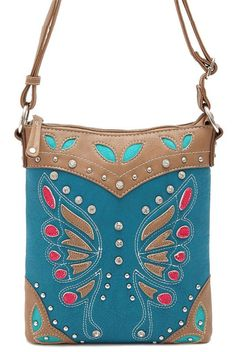 Trendy Fashion Western Rhinestone Bling Erfly Design Crossbody Messenger Bag In Turquoise Blue Andreas Boutique