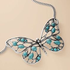 FOSSIL® Jewelry Necklaces:Jewelry Stainless Steel Necklace I would love this! Turquoise Jewelry, Turquoise Bracelet, Silver Jewelry, Butterfly Jewelry, Butterfly Necklace, Pantone, Jewelery, Jewelry Necklaces, Fossil Jewelry