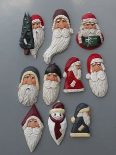 Brooches - Brooches with rare earth magnets, will not damage leather jackets - Santa Carvings