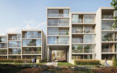 Image 3 of 9 from gallery of Benthem Crouwel Design Landscaped Residential District in Prague. Photograph by Benthem Crouwel Architects Typology Architecture, Social Housing Architecture, Commercial Architecture, Architecture Design, Archi Design, Design Competitions, Apartment Design, Rotterdam, Building Design