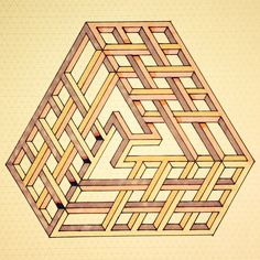 Optical illusion the impossible triangle imagined as a labrynth