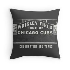 Photo Pillow Cover Chicago Photography Chicago Cubs Sports Decor Illinois Man Cave Midwest Vintage Sign Wrigley Field Sign Cubbies Fan