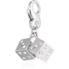 """Carolee LUX """"Sterling Charms"""" Sterling Silver Lucky Dice Charm ($50) ❤ liked on Polyvore featuring jewelry, pendants, charm jewelry, sterling silver charms, lobster claw clasp charms, pendant jewelry and sterling silver heart pendant"""