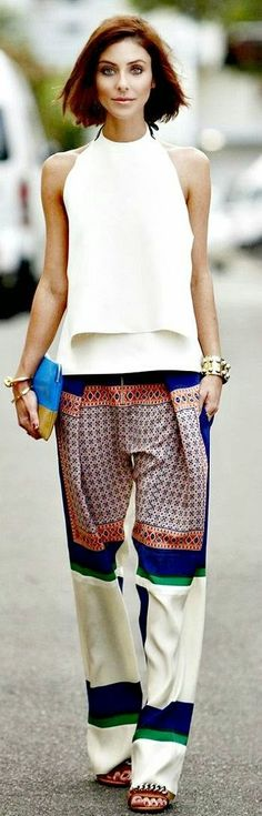 Teenage Fashion Blog: Printed Pant with White Top | Chic Street Outfits