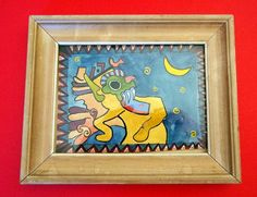 VINTAGE NATIVE WATERCOLOR Small Wood by MADONNASCOLLECTIBLES