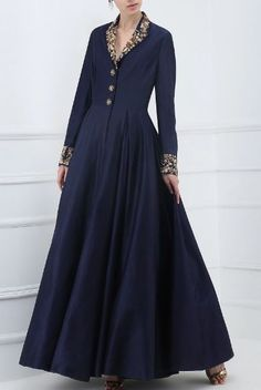 Samant Chauhan presents Navy blue embroidered front open gown available only at Pernia's Pop Up Shop. Stylish Dresses, Casual Dresses, Fashion Dresses, Indian Gowns Dresses, Pakistani Dresses, Evening Dresses, Indian Designer Outfits, Designer Gowns, Designer Clothing