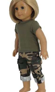"""You are in the army now, with a forest green crew neck top and camouflage cargo capris.  Fits 18"""" Dolls.  (Doll Not Included)"""