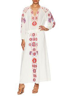 Cotton Embroidered Tea Length Dress by Antik Batik at Gilt