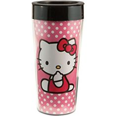 Vandor 18051 Hello Kitty 16 oz Plastic Travel Mug, Pink