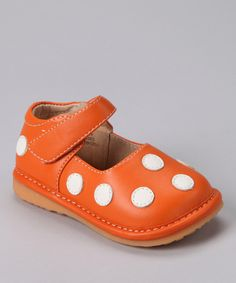 Take a look at this Orange Polka Dot Squeaker Mary Jane on zulily today!