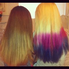 Ava Allan's ombré hair and Alexi Blue's (me!) pink and blue dip dyed hair:)