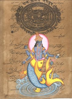 Matsya – First Avatar of Vishnu Subject: Hindu Deity Painting Paint Material:Opaque Watercolors Base Material: Stamp Paper Size: 8 in. Indian Gods, Indian Art, Indian Illustration, Digital Art Fantasy, Tibetan Art, Tanjore Painting, Fish Crafts, Krishna Photos, Waterworks