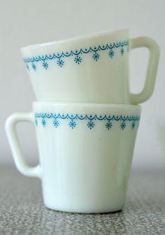 Winter, Snowflake Blue Pyrex Mugs, set of 4