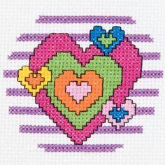 "3"" Round 14 Count My 1st Stitch Heart Mini Counted Cross Stitch Kit 45457"