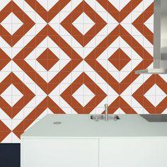 Raiz Orange Ceramic Tile // Azulejo Raiz Laranja // Shop Online http://www.lurca.com.br/  #azulejos #azulejosdecorados #revestimentos #arquitetura #interiores #decor #design #sala #reforma #decoracao #geometria #casa #ceramica #architecture #decoration #decorate #style #home #homedecor #tiles #ceramictiles #homemade