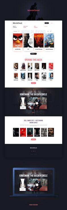 Design for MovieCloud. Web Design Inspiration, Design Trends, Design Ideas, Kingsman The Golden Circle, Webpage Layout, Mobile Ui Design, Best Web Design, Create Website, Graphic Design