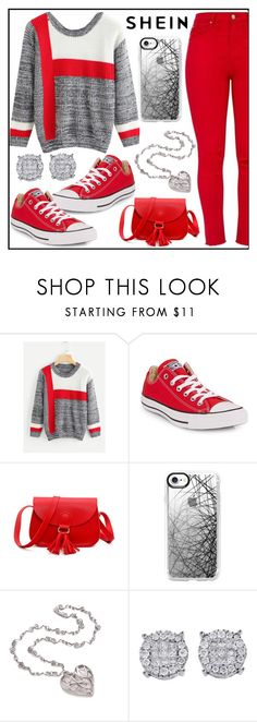 """Color Block Space Dye Jumper - Shein"" by tlb0318 ❤ liked on Polyvore featuring Converse and Casetify"
