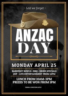 Create an event flyer or poster for Anzac Day or Australia Day without the need for a graphic designer. Check out the huge range of professionally pre-designed posters, flyers and social media graphics that you can update yourself, in minutes. Lest We Forget Anzac, Bbq Drinks, Anzac Day, Australia Day, Drink Specials, Social Media Graphics, Diy Design, Promotion, How To Apply