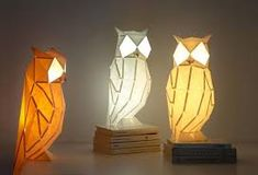 Image result for unique lighting Modern Lighting Design, Unique Lighting, Lighting Ideas, Owl Lantern, Origami, Fish Lamp, Traditional Lanterns, Paper Light, Cool Lamps