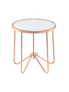 Alivia End Table Frosted Glass & Rose Gold Glass & Rose Gold / Glass Metal Tube