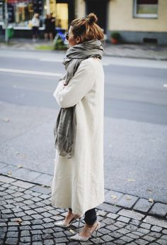 "fashion-clue: "" justthedesign: "" A big scarf and a big coat: just what you need for the autumn chill! Via Maja Wyh Coat: Weekday, Scarf: Vyvyn Hill, Trousers: Calvin Klein, Shoes: Jimmy..."