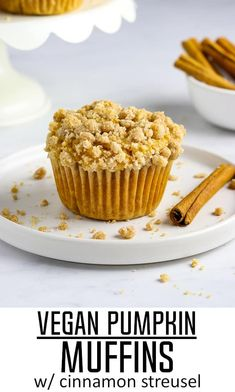 These Vegan Pumpkin Muffins with Cinnamon Streusel are the true essence of fall! They are filled with pumpkin flavor, warm spices and completed with a buttery crumb topping. Plus, they are easy to make and will be ready in 30 minutes or less! Vegan Baking Recipes, Vegan Dessert Recipes, Cupcake Recipes, Cooking Recipes, Brunch Recipes, Non Dairy Desserts, Egg Free Desserts, Vegan Treats, Vegan Snacks