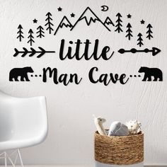 New Little Man Cave Quote Woodland Nursery Wall Decal by Harriet Bee. Home Decor Furniture Woodland Nursery Boy, Bear Nursery, Nursery Decor Boy, Baby Decor, Woodland Room, Rustic Nursery Boy, Nursery Room Ideas, Rustic Baby Rooms, Boy Nursery Colors