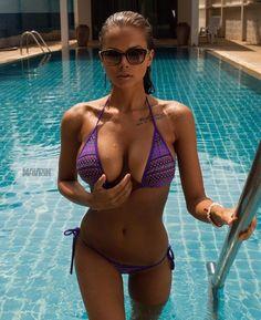 Blonde fitness yoga girl in jungle, with perky big boobs in sexy bikini swimwear. Sexy Bikini, Bikini Swimwear, Pink Bikini, Viki Odintcova, Bikini Bodies, Beautiful Women, Beautiful Gorgeous, Coffee, Workout Inspiration